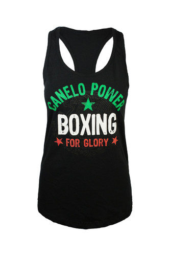 "Black ""Canelo"" Alvarez ""legends"" raceback tee with Mexicos national colors."