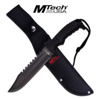 "•FIXED BLADES •12.5"" OVERALL •7"" 3.5MM THICK BLADE, STAINLESS STEEL •BLACK SAW BACK BLADE •RUBBER COATED BLACK NYLON FIBER HANDLE WITH LANYARD CORD •INCLUDES 1680D NYLON SHEATH"