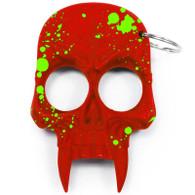 Skull Keychain Red with Green Splash