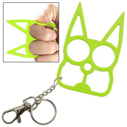 Cat Self Defense Key Chain Neon Green