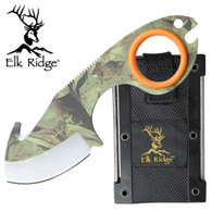 "Elk Ridge Skinner 5.4 "" Overall  •440 STAINLESS STEEL •CAMO COATED GUT HOOK BLADE •COMFORT GRIP SILICONE RING •INCLUDES MOLDED CASE WITH FIRE STARTER AND HONING FILE"