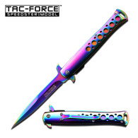 """Spring Assisted Stiletto Knife •4.2"""" 3MM THICK BLADE, STAINLESS STEEL •RAINBOW TITANIUM COATED BLADE •5"""" CLOSED •RAINBOW TITANIUM COATED STAINLESS STEEL HANDLE •INCLUDES POCKET CLIP"""