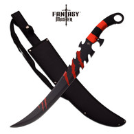 """•25"""" OVERALL •17"""" 3MM THICK BLADE, STAINLESS STEEL •BLACK PAINTED BLADE •RED CORD WRAPPED HANDLE •INCLUDES 600D NYLON SHEATH"""