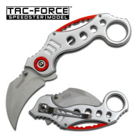 "Spring Assisted Karambit Knife Silver •2.5"" 3MM THICK BLADE, STAINLESS STEEL •SILVER CURVED BLADE •5.25"" CLOSED •KARAMBIT STYLE SILVER ALUMINUM HANDLE •INCLUDES POCKET CLIP"