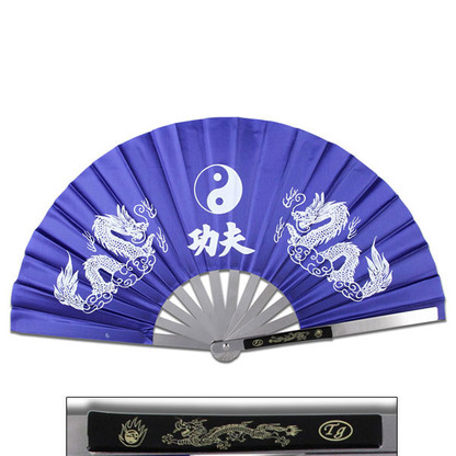 Tessen-Jutsu Iron Fan Weapon Dragon Blue