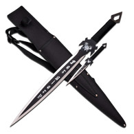 """•SWORDS •27'' OVERALL •19"""" 3MM THICK, STAINLESS STEEL •BLACK FINISHED BLADE •BLACK NYLON ROPE WRAPPED HANDLE WITH WOOD INLAY •INCL10"""" THROWER AND 600D NYLON SHEATH WITH SHOULDER BELT"""