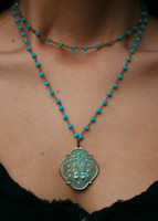 B&B Turn Up the Turqouise Layering Necklace with B&B Petite Patina