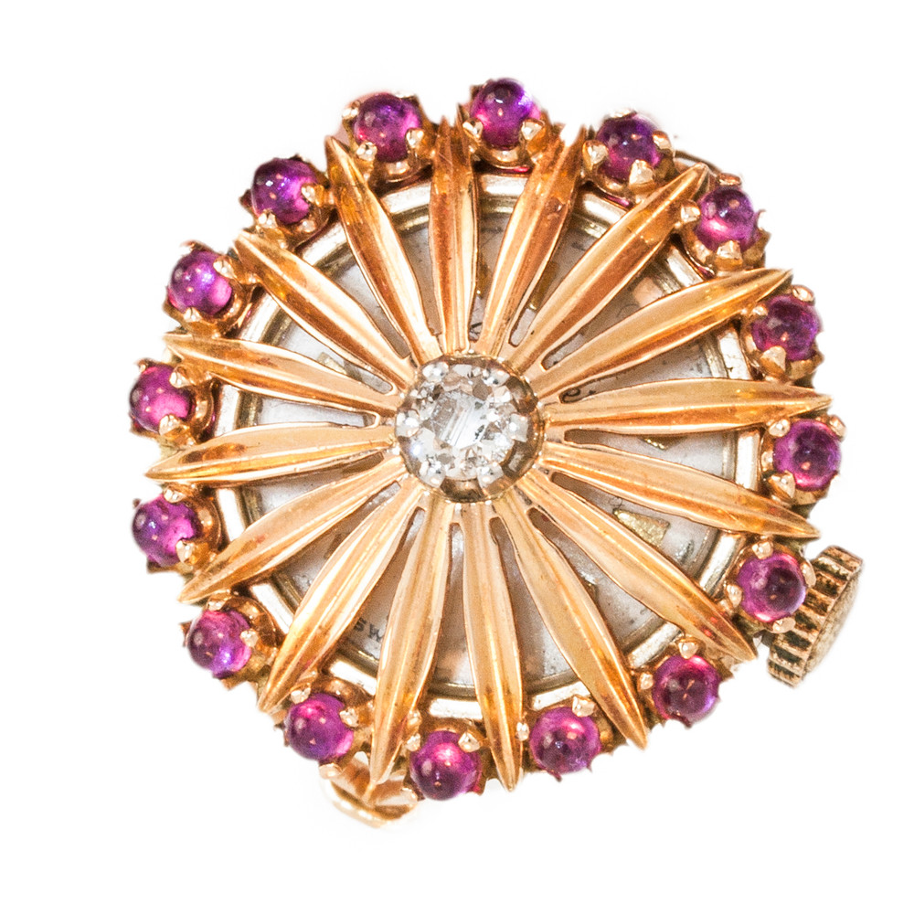 A Vintage Rose Gold, Diamond And Ruby, Cocktail Watch Ring From The  1950's