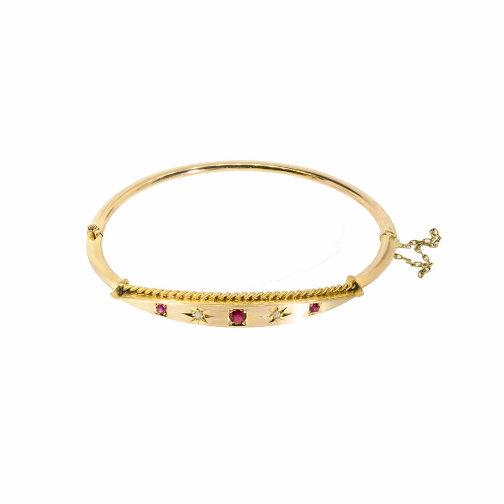 An Antique Diamond and Ruby Bangle Bracelet