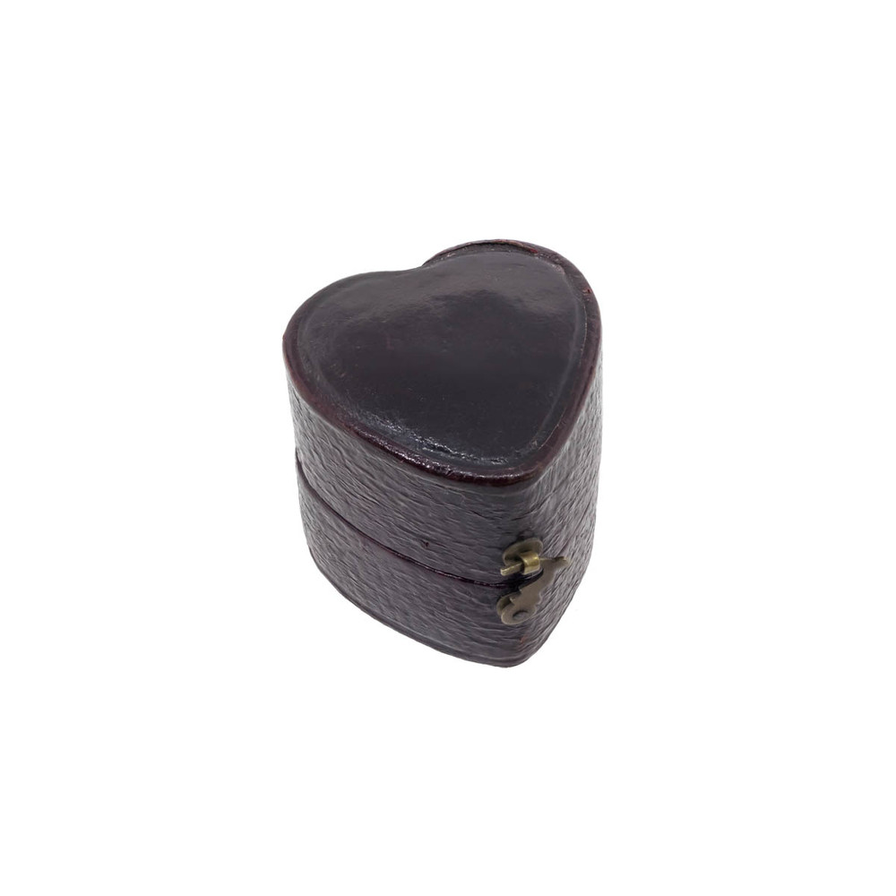 Antique victorian leather ring box heart shaped for Heart ring box