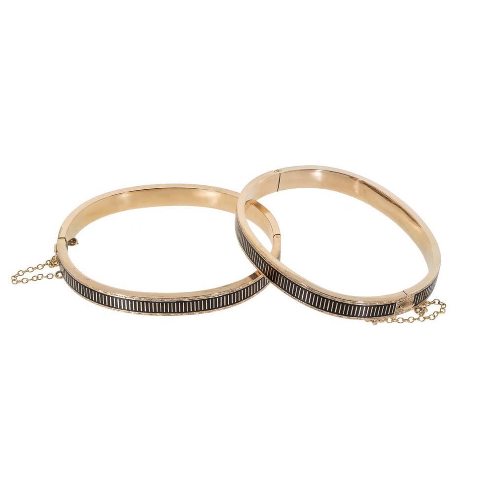 Pair of antique black enamel and gold bangle bracelets