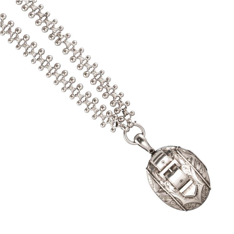 Victorian Silver Locket with a Buckle Motif Attached to a Victorian Sterling Silver Collar Chain Necklace