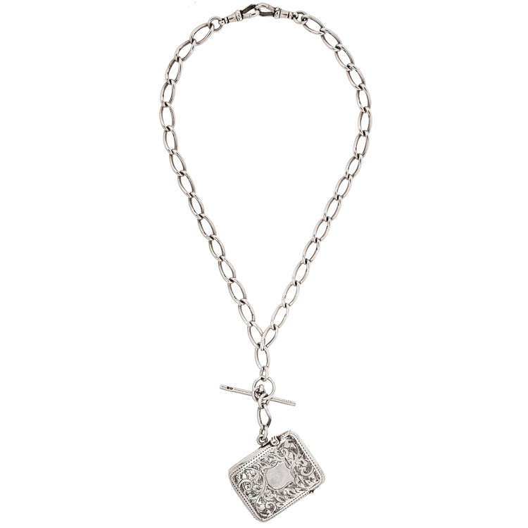 Antique Albert Watch Chain and Silver Vesta Necklace