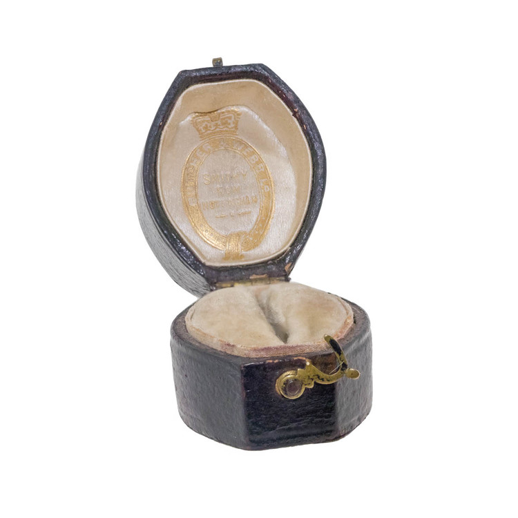 Antique Victorian Leather Ring Box, Velvet and Silk Lined