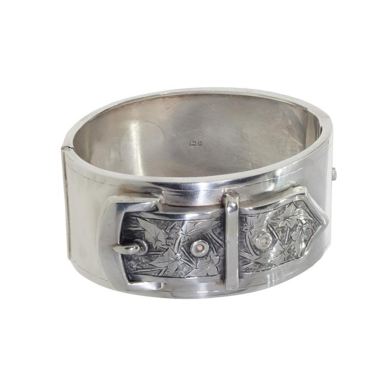 Antique Buckle Bangle Bracelet in Sterling Silver