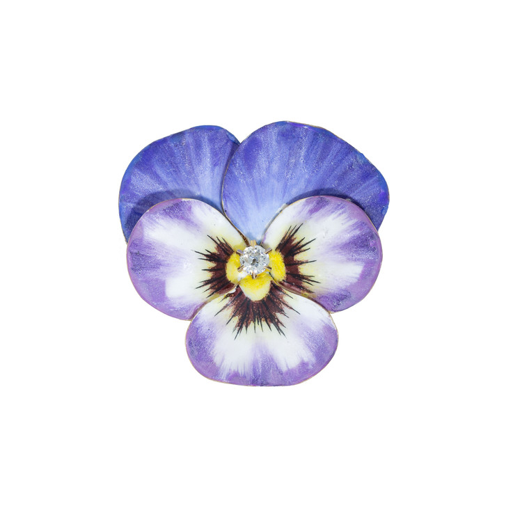 Antique: Enamel Pansy Brooch with A European Cut Diamond Center