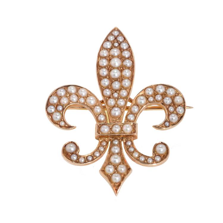 Antique Pearl Fleur De Lys Pendant
