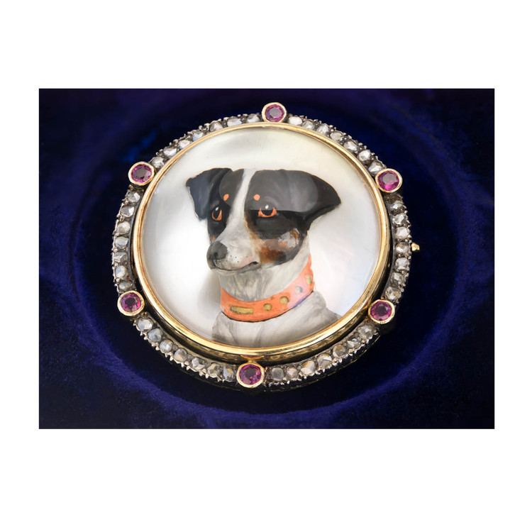 Antique Reverse Intaglio Jack Russell Terrier Dog Brooch with Rubies and Diamonds Set in 18 Ct Gold