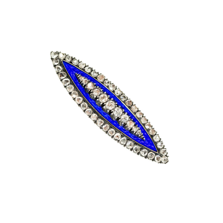 Antique Navette Brooch in Blue Enamel with Diamonds in 14 Ct Gold