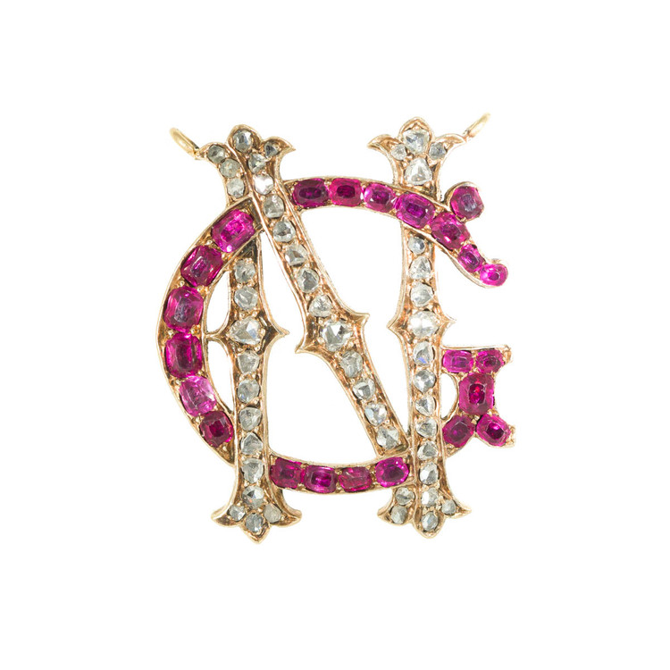 Antique Ruby and Diamond Letter Pendant