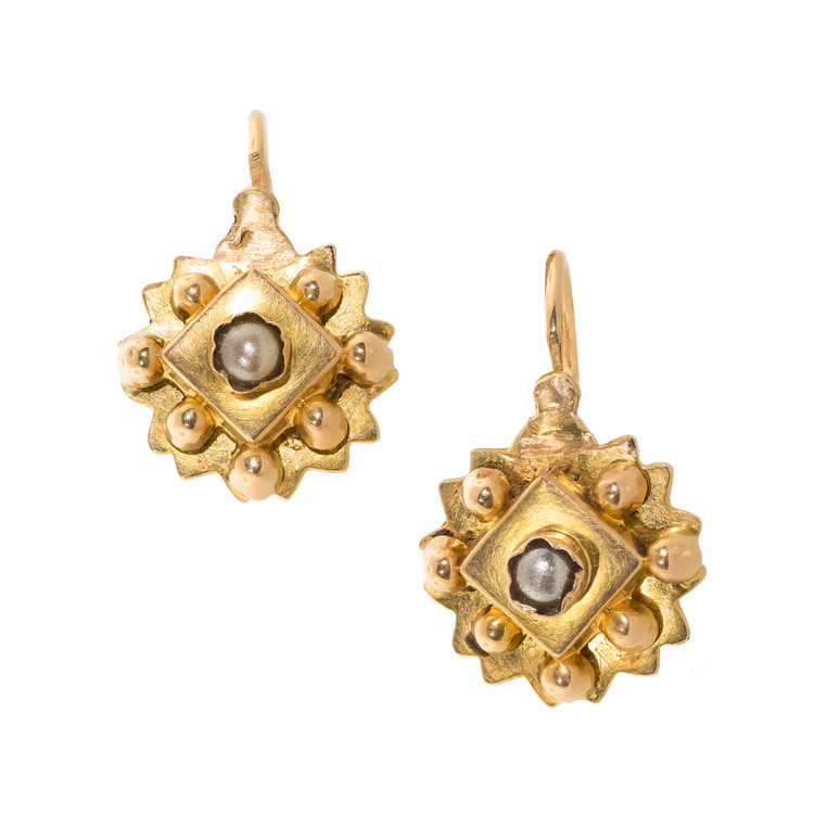 Antique French 18 Kt Gold Dormeuse Earrings