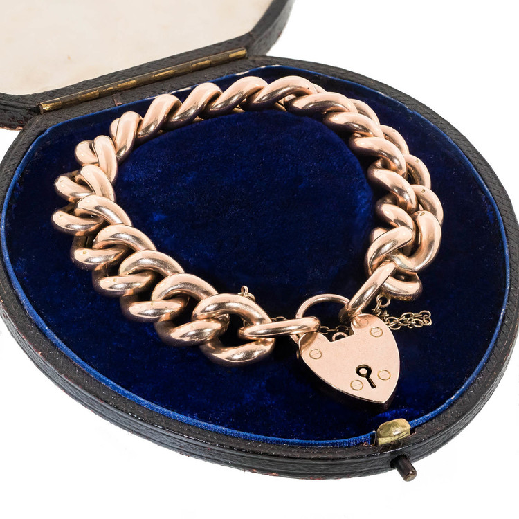 Antique: Heavy Rose Gold Link Bracelet  & With Heart Padlock