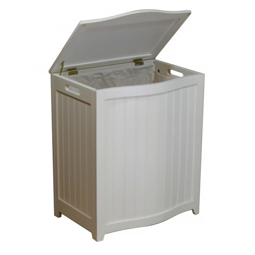 Oceanstar White Finished Bowed Front Laundry Wood Hamper