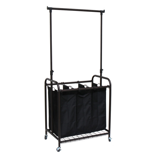 Oceanstar 3-Bag Rolling Laundry Sorter with Adjustable Hanging Bar, Bronze