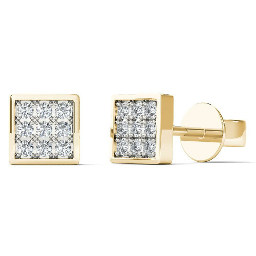 Aayna 10k Yellow Gold Children's Diamond Accent Square Stud Earrings
