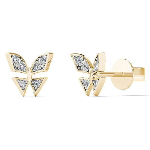 Aayna 10k Yellow Gold Children's Diamond Accent Butterfly Earring