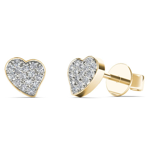 Aayna 10k Yellow Gold 1/10ct TDW Diamond Accent Heart Stud Earrings