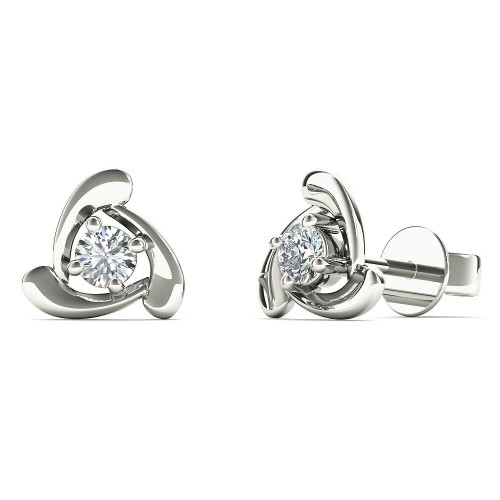 Aayna 10k White Gold 1/8ct TDW Diamond Triangle Stud Earrings