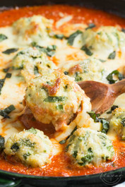 SPINACH CHICKEN PARMESAN MEATBALLS IN CREAMY TOMATO SAUCE