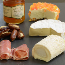French Cheese Gift Set / Board w/ honey, serrano ham and figs with almonds