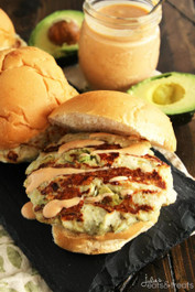 Chicken Avocado Burger with Chipotle Yogurt Sauce