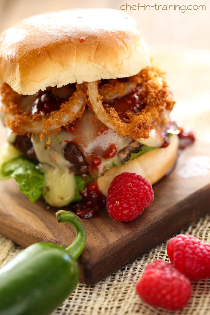 Creamy Jalape 241 O Stuffed Burgers With Raspberry Chipotle Sauce