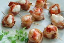 Bacon Wrapped Lobster Tail - 35 pieces per tray