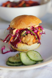 Asian Inspired Fried Chicken Sliders with Homemade Brioche and Sesame Slaw
