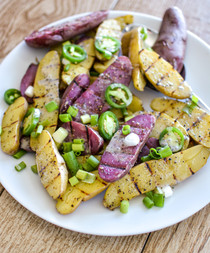 Grilled Fingerling Potato Salad with Chia Seed Ranch Dressing (vegan)