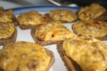Cheesy Sausage Bacon Jam Toast Bites