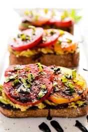 Avocado and Heirloom Tomato Toast with Balsamic Drizzle