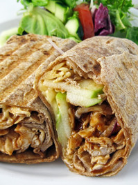 Grilled Barbecue Chicken, Apple, and Smoked Gouda Sandwich Wrap