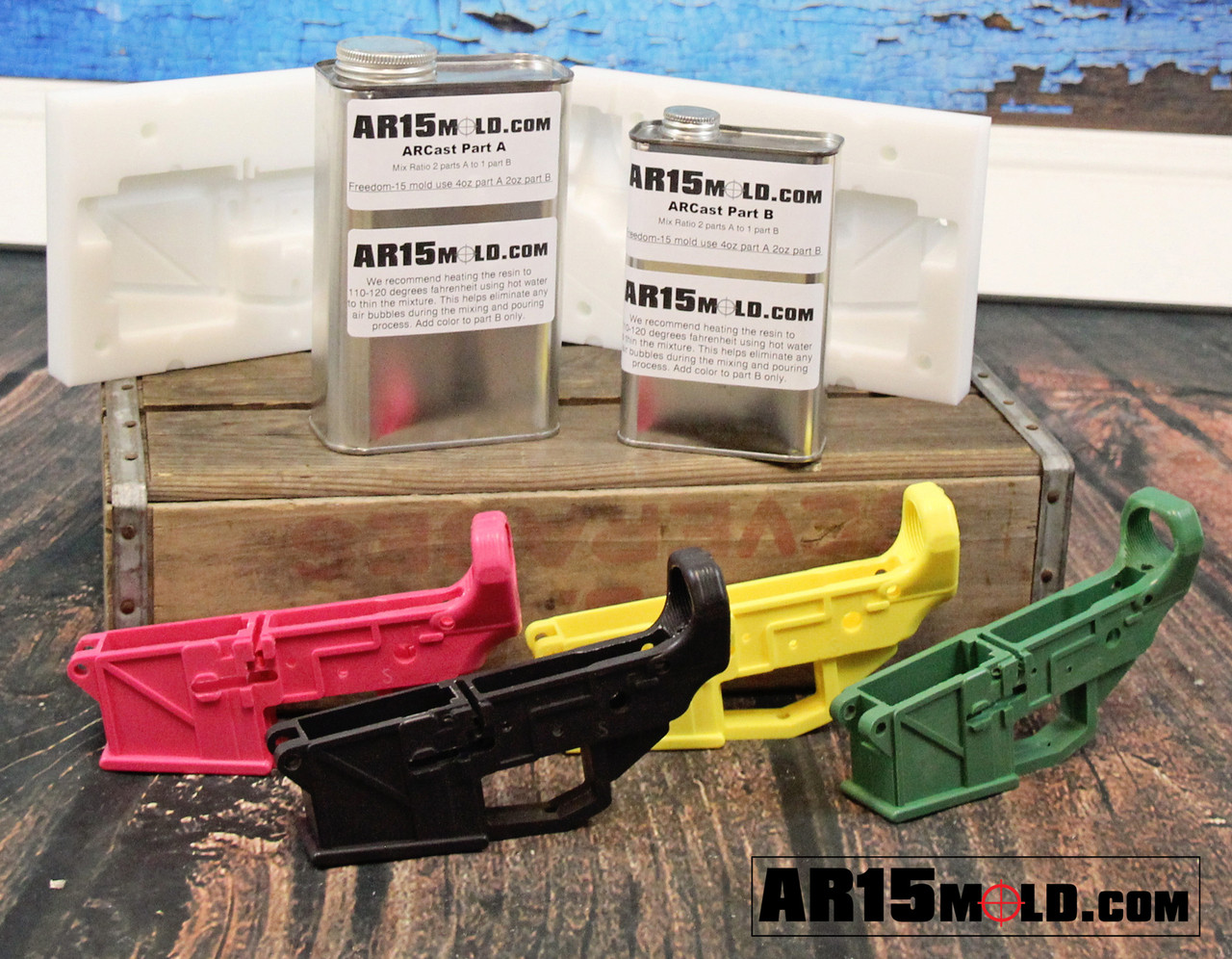 Freedom-15 AR15 100 percent lower receiver mold kit. No Machining Required. Assemble with common AR15 Lower Parts Kits.