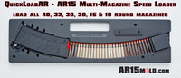 QuickloadAR™ by AR15Mold.com, inexpensive AR15 Magazine speed loader.  Works with most all magazine types DD 32, 30, 20, 15 & 10 rounds.  You can also load 40 round magazines by holding the mag in place.
