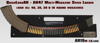 QuickloadAK™ by AR15Mold.com, inexpensive AK-47 Magazine speed loader.  Works with most all magazine types 40, 30, 20& 10 rounds.