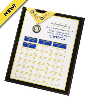 "Earning a rating of SUPERIOR at the national individual events is an extraordinary accomplishment. Honor your students and preserve their legacy with this custom perpetual plaque, featuring the actual SUPERIOR MEDALLION. All heads will turn when this is displayed in your school. 16"" x 20"""