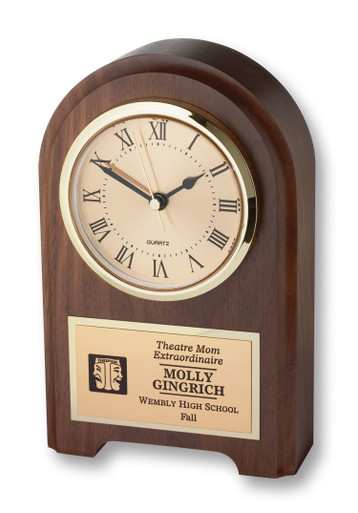 "This solid walnut desk clock is just right when you want to recognize someone very special. This clock displays the ITS icon and up to 6 lines of text with 25 characters per line included. 4.25"" x 1.25 x 7.5"". Specify ITS icon color: blue or black."