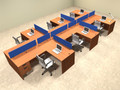 Six Person Blue Divider Office Workstation Desk Set, #OT-SUL-SPB61