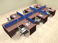 Six Person Blue Divider Office Workstation Desk Set, #OT-SUL-SPB62