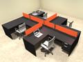 Four Person Orange Divider Office Workstation Desk Set, #OT-SUL-SPO60